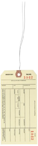 Aviditi G18023 10 Point Cardstock #8 Pre-Wired Stub Style Inventory Tag,