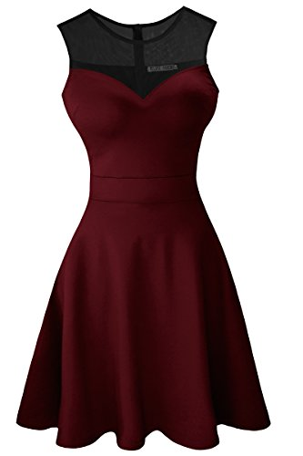 Sylvestidoso Women's A-Line Sleeveless Pleated Little Wine Red Cocktail Party Dress with Black Mesh (S, Wine)