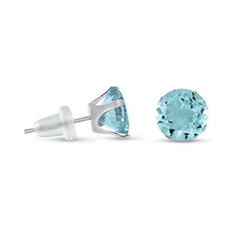Crookston Round Aqua Solid 10K White Gold Stud Earrings Choose Your Size 2mm - 10mm | Model ERRNGS - 14702 | 8mm - 2XL ()
