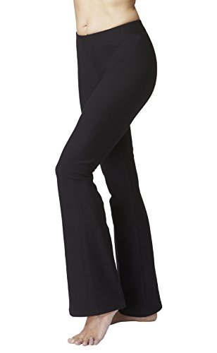 TLC Sport Women's Slimming Shaping Bootcut Bootleg Yoga Pants Black Reg-L
