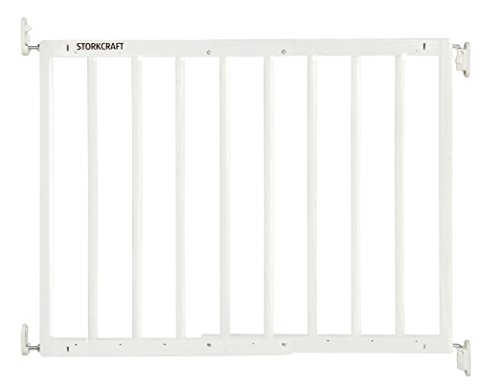 Storkcraft Easy Walk-Thru Wooden Safety Gate, White Adjustable Baby Safety Gate For Doorways and Stairs, Great for Children and Pets