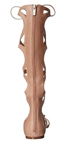 Kolnoo Damen Hoch Kälber Knie Hohe Riemchen Studs Flache Lace Up Roman Gladiator Sandalen Sommer Schuhe nackt
