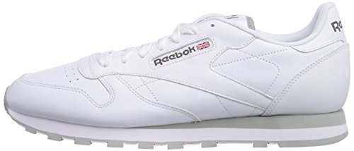 Grey light Classic Baskets White Reebok Leather Blanc intense Homme R8WHw4qw