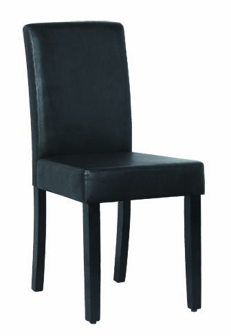 Superieur LIFE Home Home Life 2 Parson Leather Dining Chairs With Espresso Wood Legs,  Black