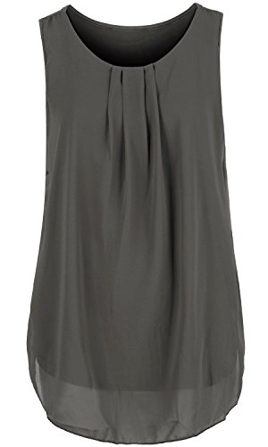 ililily Solid Color Semi-Sheer Pleated Front Chiffon Boxy Sleeveless Blouse Top, Dark - Sheer Boxy