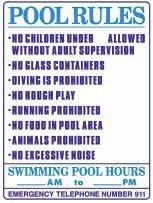 POOL RULES with SWIMMING POOL HOURS, 18x24 Heavy Duty Sign by Alotta Signs