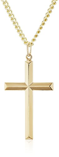 Mens 14k Gold Filled Solid Beveled Edge Embossed Cross with Gold Plated Stainless Steel Chain Pendant Necklace, 24