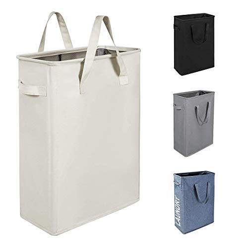 Chrislley 45L Slim Laundry Hamper Collapsible Laundry Basket Thin Narrow Laundry Hampers with Handles Dirty Slim Hamper for Laundry(Slim 21 Inches, Beige) (Faces Five Guys Walk Into A Bar)