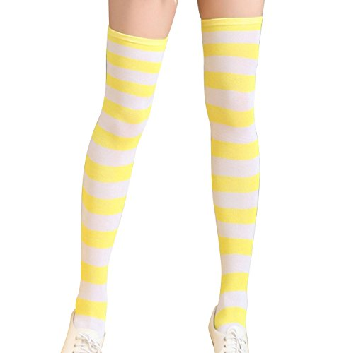 (Aivtalk Women's Extra Long Opaque Striped Over Knee Thigh High Stockings)