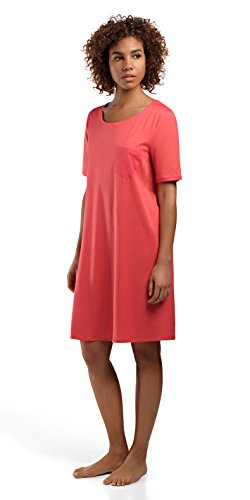 Hanro Women's Cotton Deluxe Short Sleeve Bigshirt, Grapefruit, Small