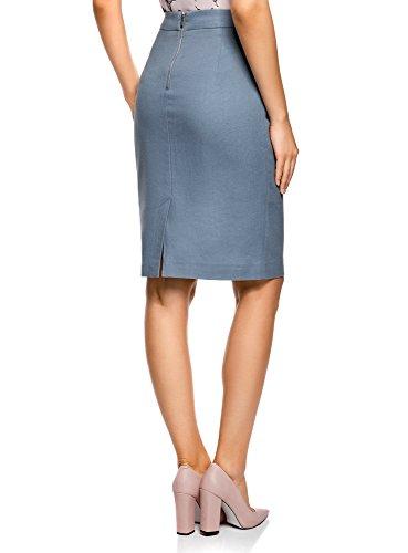 oodji Jupe Bleu Droite Collection 7000n Classique Femme vxwpvEqr