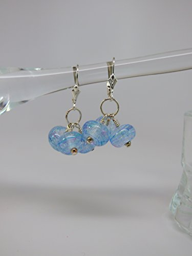 Light Blue Artisan Dichroic Bead Triple Drop Earrings with Sterling Silver Leverback Ear Wires and Findings ()