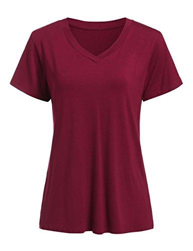 Floerns Women's V Neck Short Sleeve Casual T-Shirt Burgundy XXL