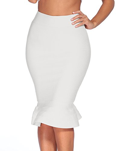 iFashion Women's Sexy Rayon Bandage Bodycon Party Midi Skirt, Mermaid, White, S