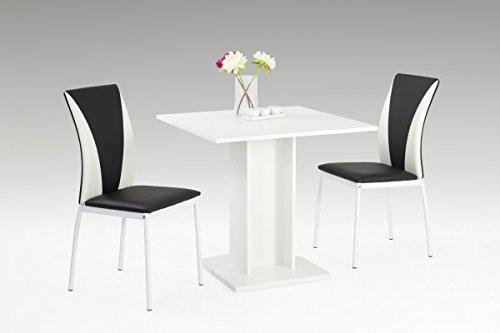 Dreams4Home Essgruppe 'Enzo' 3-teilig, Tischgruppe, Esstisch, Säulentisch,Stuhl, Küche, Esszimmer, (B/T/H) ca. 80 x 80 x 76 cm, in weiß/schwarz