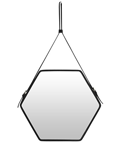 Ms.Box PU Leather Decorative Hanging Wall Mirror,Strap Mirror, Hexagon Mirror with Adjustable Hanging Strap, Silver Hardware Hanger/Hooker, Top Notch Black PU Leahter, Size:17.9x15.55 inches