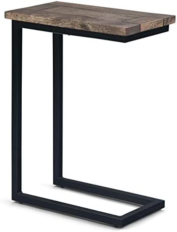 SIMPLIHOME Skyler Solid Mango Wood and Metal 18 inch wide Rectangle Industrial C Side Table