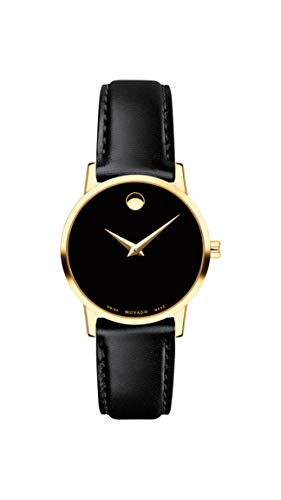 Movado Women's Museum Yellow Gold Watch with a Concave Dot, Silver/Gold/Black Strap (Model: 607275)