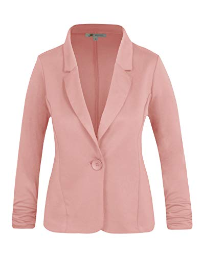 (Michel Women's Casual Work Office Blazer Solid Color Single Button Up Jackets Rose Medium)