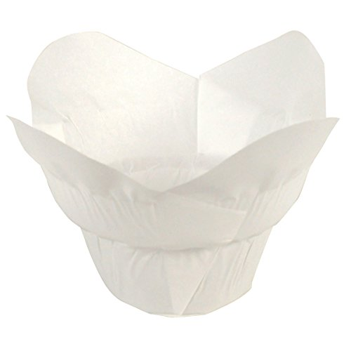 Hoffmaster 611110 Lotus Cup Cupcake Wrapper/Baking Cup, 1-1/4'' Diameter x 2-1/4'' Height, Small, White (10 Packs of 250) by Hoffmaster