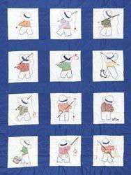 Bulk Buy: Jack Dempsey Stamped White Nursery Quilt Blocks 9''X9'' 12/Pkg Little Boys 300 16 (2-Pack) by Jack Dempsey