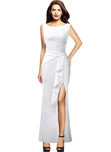 (VFSHOW Womens Ruched Ruffles High Split Formal Wedding Party Maxi Dress 856 WHT XL)