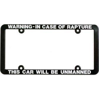 warningin case of rapture christian religious license plate frame