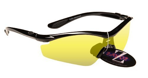 RayZor Professional Lightweight UV400 Black Sports Wrap Fishing Sunglasses, With a Light Enhancing Clear Yellow Anti-Glare - Daiwa Sunglasses