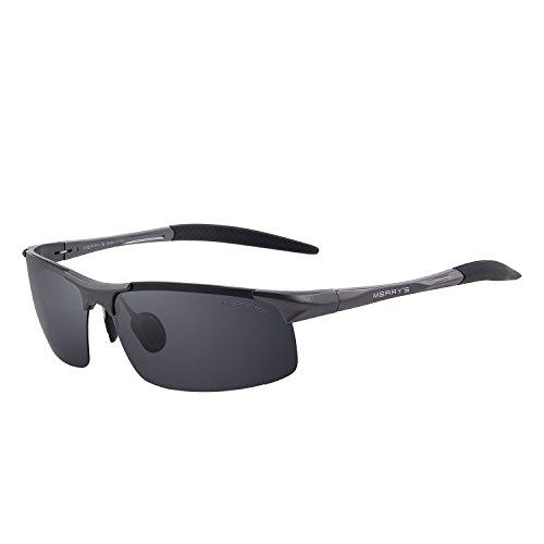 MERRY'S Men's Polarized Sports Sunglasses Driver Glasses Unbreakable Frame Rimless Shades S8277 (Gray&Gray, - Best Rectangular For Sunglasses Face