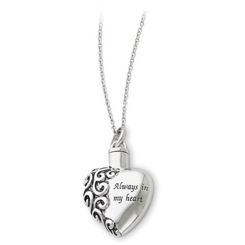 Sterling Silver Rhodium Plated Cremation Memorial Urn Ash Holder Pendant Necklace ''Always in My Heart'' by db