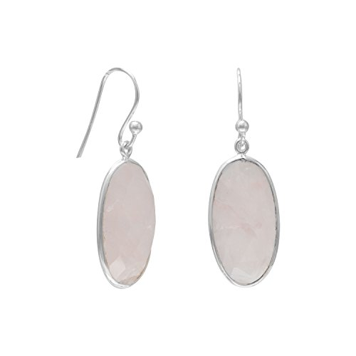 Oval Faceted Rose Quartz Sterling Silver French Wire Earrings Quartz Measures 20mmx10mm