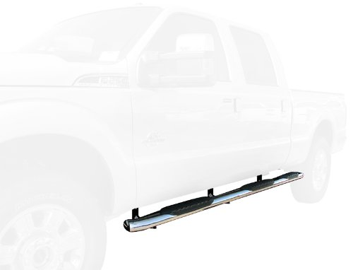 5'' Bend Wheel-To-Wheel Side Step Bars Fit 1999-2016 Ford F250/F350/F450/F550 Super Duty Crew Cab 6.5' Standard Bed (Excl. Dually) (2pcs W2W WTW Running Boards with Mounting Bracket Kit) - Super Duty Dually Crew Cab