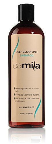 Deep Cleansing Shampoo for all hair types - Best Purifying and Clarifying Shampoo Hair Products on Amazon - Removes Residue and Cosmetic Build Up - Ideal for Use Prior to Keratin Hair Treatment - 16.9 Oz (500 ml) by Damila