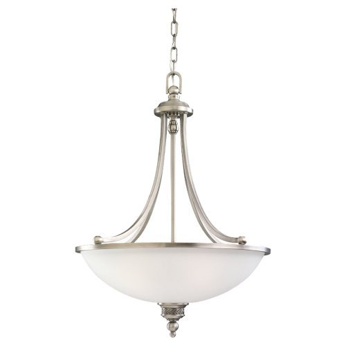 Sea Gull Lighting 65351-965 Three-Light Laurel Leaf Pendant, Satin Etched Glass Shade, Antique Brushed Nickel