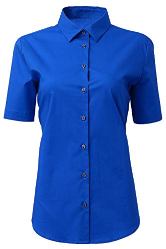 (HORSE SECRET Button Up Shirts Female Formal Work Wear Uniform Office Royal Blue Shirts Size 10 )