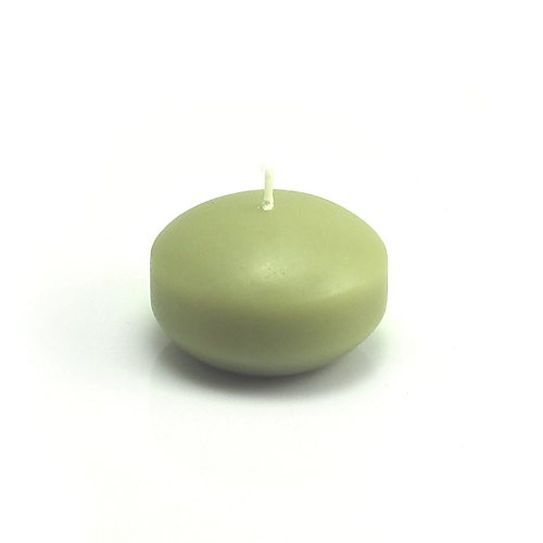 Zest Candle CFZ-015_12 288-Piece Floating Candle, 1.75'', Sage Green