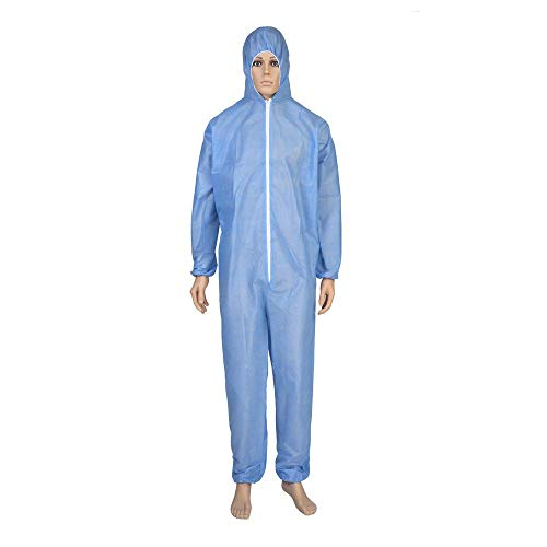 Gadgets Appliances Non Porous, Water Repellent 90GSM Disposable Coverall with Hood Non-Woven (Medical Blue Colour)