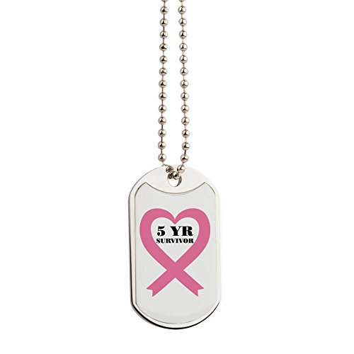 CafePress - Breast Cancer 5 Year Survivor - Military Style Dog Tag, Stainless Steel with Chain