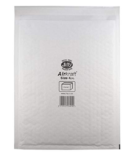 Jiffy Airkraft Lightweight Postal Bag for A4 Box of 50 - Size 4, White, 240 x 320mm