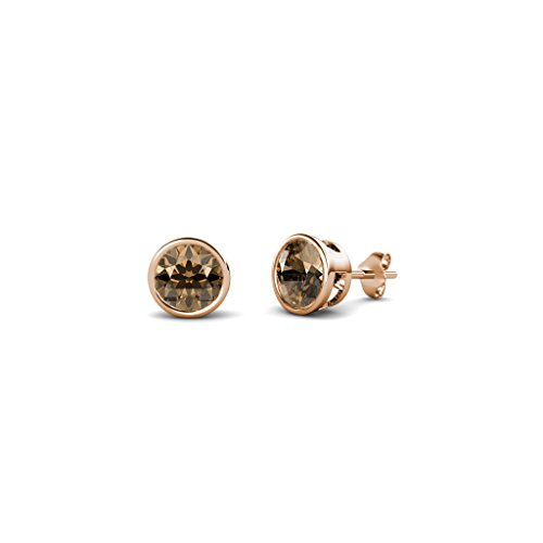 Smoky Quartz 4mm Bezel Set Solitaire Stud Earrings 0.50 ct tw in (Rose Gold Smoky Ring)