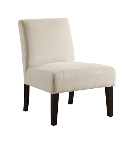 AVE SIX Laguna Accent Chair with Espresso Finish Solid Wood Legs, Oyster Velvet Fabric
