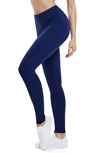 THE GYM PEOPLE Pleated Yoga Pants Women Activewear Workout Running Yoga Leggings Non See-Through Fabric (Large, Blue)