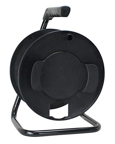 Prime Cord - Prime CR003000 Portable Cord Reel with Metal Stand, Black, Holds 100-Ft of Cord