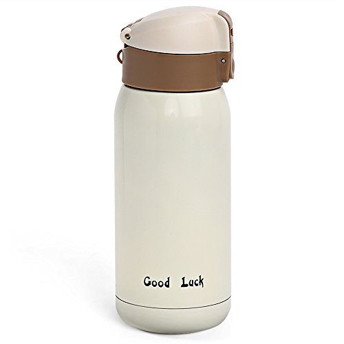 360ML Portable Stainless Steel Coffee Water Bottle Insulated Travel Mug Vacuum Flask Cup Leak Proof Thermos (BEIGE)
