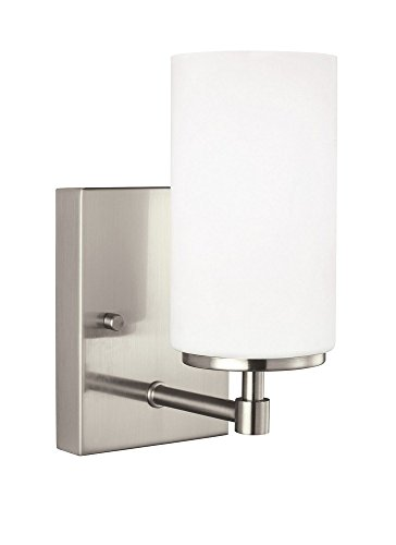 Sea Gull Lighting 4124601EN3-962 Alturas One-Light Bath or Wall Sconce with Etched White Inside Glass Shade, Brushed Nickel Finish by Sea Gull Lighting