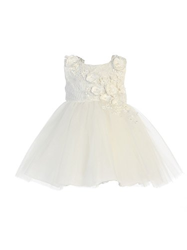 - Tip Top Kids Baby Girls Ivory Shiny 3D Lace Bodice Mesh Skirt Flower Girl Dress 18M