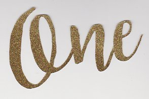 12 CT Glitter One Cupcake Topper Calligraphy One Cursive One