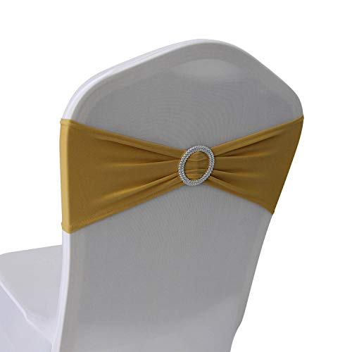 Gold Spandex Chair Bands Sashes - 100 pcs Wedding Banquet Party Event Decoration Chair Bows Ties (Gold, 100 pcs)