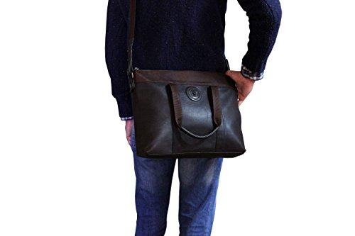 Marrón piel ordenador bolso FERETI grande mensagero de portatil para w1vWqZ