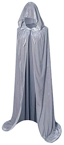 (Unisex Christmas Hooded Cloak Full Length Halloween Costume Party Cape Grey)